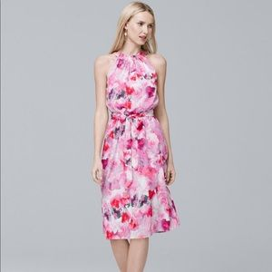 Soft-print Pink Floral Halter Dress - Sz 16